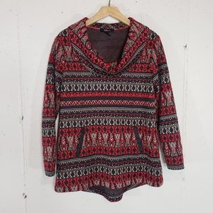 Style&co S BOHO brown/red cowl Sweatshirts